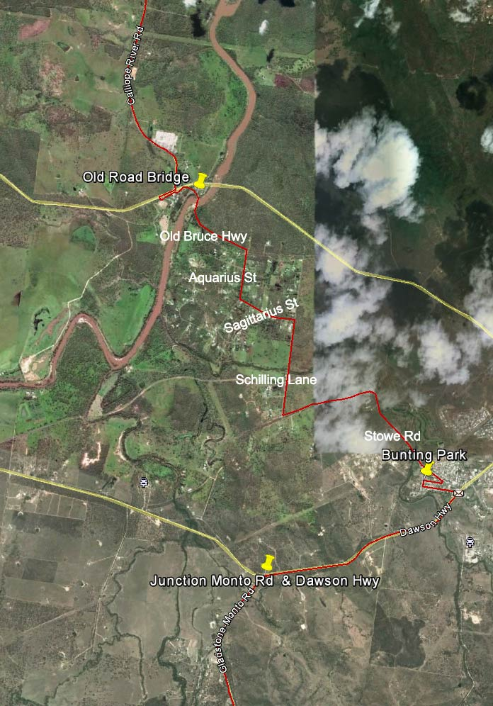 Route detail, from the junction of Monto Rd & Dawson Hwy to Calliope River Rd. Traverses built up areas.