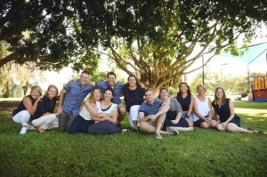 group of seated smoling men and women from Gladstone Chaplaincy